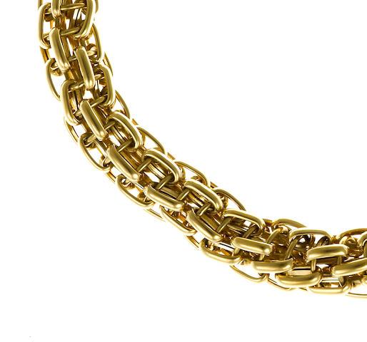 An eighteen karat gold graduated link chain necklace, Bulgari