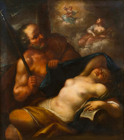 Follower of Pietro (Libertino) Liberi (Italian, 1614-1687) Time revealing Beauty, with Justice confronting Truth 44 1/2 x 58 1/2in (113 x 148cm)