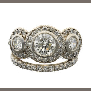 A diamond ring together with an eternity band