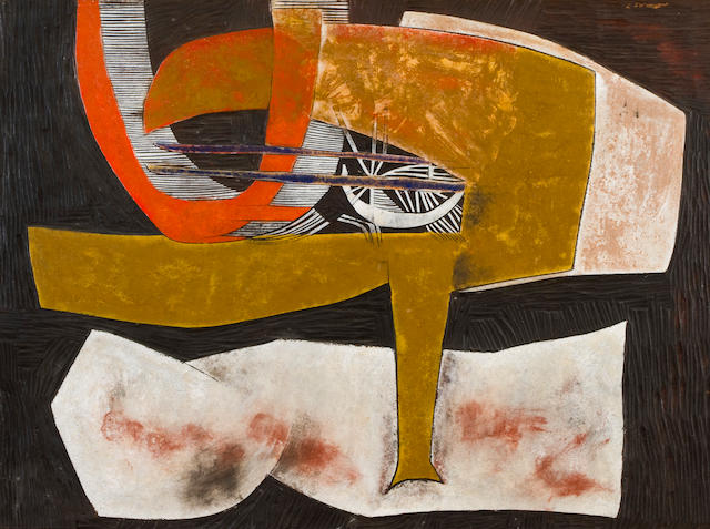 Cecil Edwin Frans Skotnes (South African, 1926-2009) Abstract, carved and incised panel, 74 x 101 cm