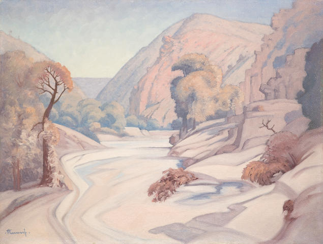 Jacob Hendrik Pierneef (South African, 1886-1957) Dry river, oil, 46 x 61 cm.