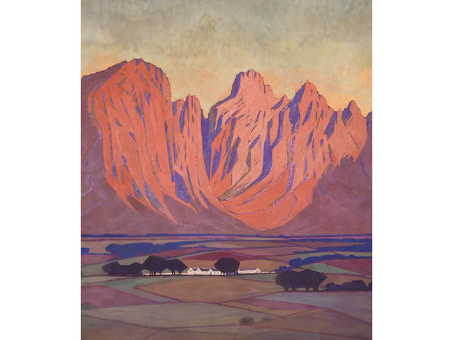 Jacob Hendrik Pierneef (South African, 1886-1957) Cape farmlands (a pair) 55.9 x 50.8cm (22 x 20in.) each