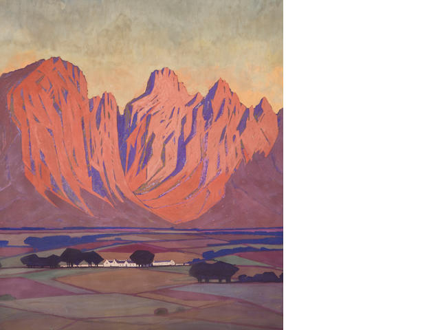 Jacob Hendrik Pierneef (South African, 1886-1957) Cape Farm, a pair, casein 54 x 47 cm., (2 items).