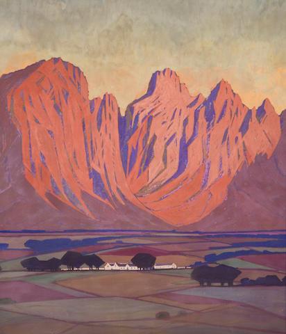 Jacob Hendrik Pierneef (South African, 1886-1957) Cape farmlands (a pair) 55.9 x 50.8cm (22 x 20in.) each