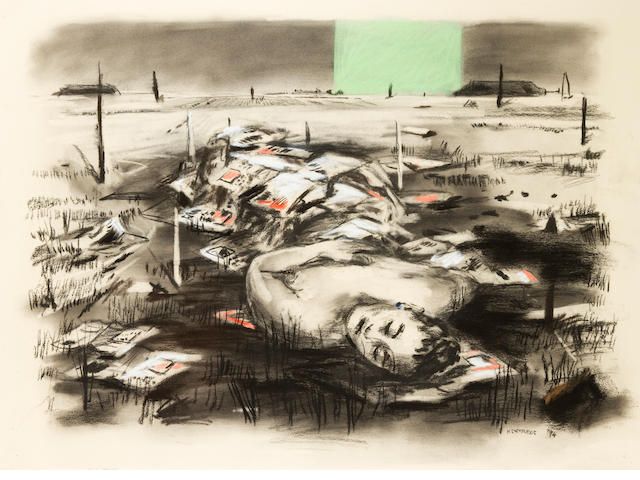 William Joseph Kentridge (South African, born 1955) Death of Nandi, charcoal, 56 x 76 cm.