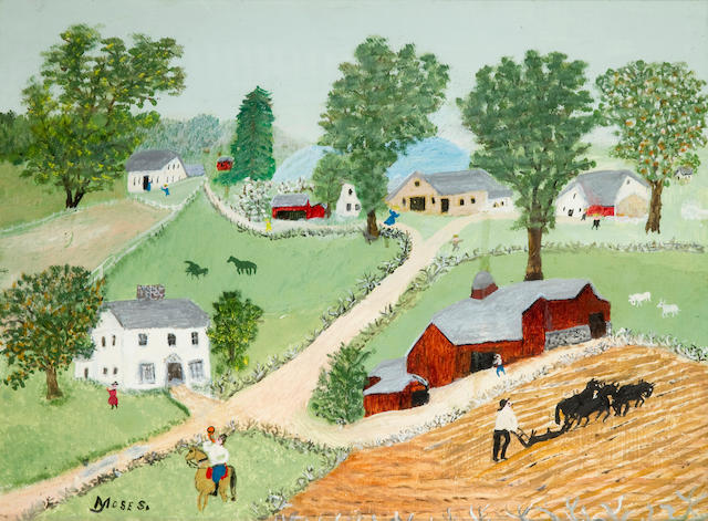 Grandma Moses (American, 1860-1961) Plowing 12 x 16in