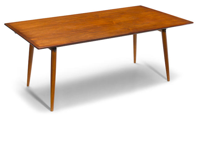 A Hans Wegner for Johannes Hansen teak extending dining room table  circa 1958