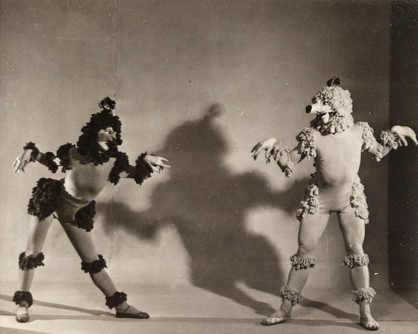 Dancers as Poodles, 1949 La Boutique Fantasque,  black and white photograph h x w: 4 x 4 3/4 in.