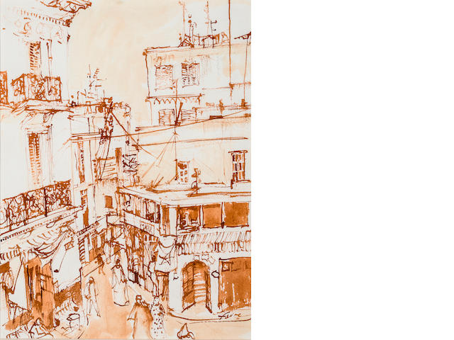 Fauve, Tangier Petit Socre Signed 'Fauve' (lower right) Sepia and ink on paper h x w: 16 x 12 in.