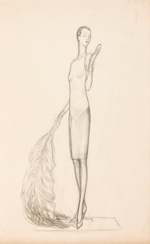American, 20th Century Vanity, 1920s Signed and dated 'Venus (?) 1927' (lower right) Pencil on paper h x w: 18 ½ x 12 in. (47 x 30.48cm)