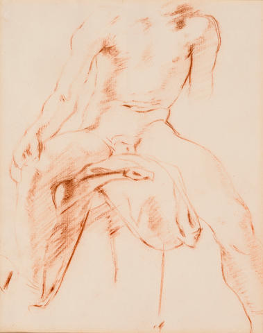 Unknown Artist Male Figure Study, Nude Colored pencil on paper h x w: 8 x 6 ½ in. (20.32 x 16.51cm)