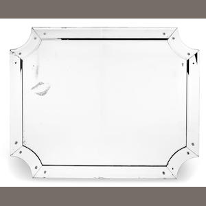 1940s large rectangular mirror with canted edges