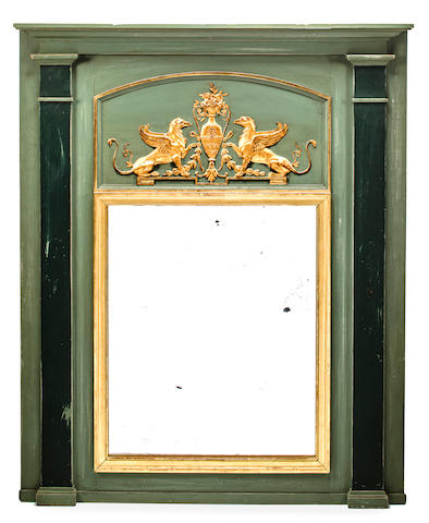 Neoclassical style overmantle mirror, Continental, late 19th/ early 20th c., Painted and parcel gilt wood, h x w: 59 x 47 1/4in. (150 x 120cm)