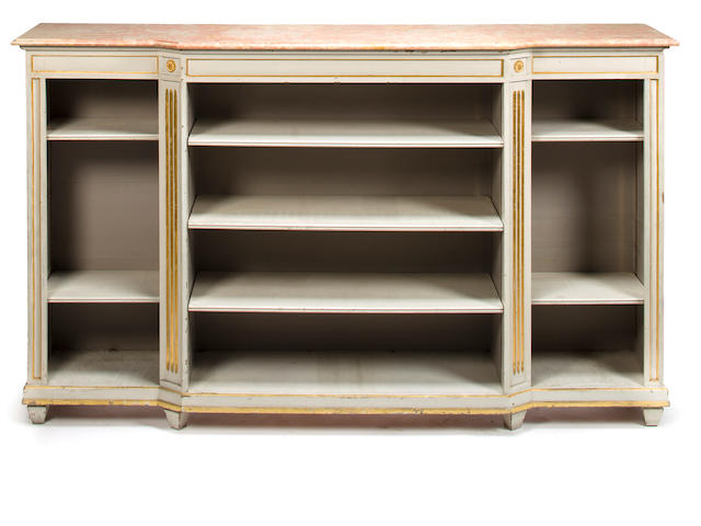 Neoclassical style bibliotheque, mid 20th c., parcel gilt and grey painted wood with pink/ yellow variegated marble top, h x w x d: 48 x 79 x 14 1/2in. (122 x 201 x 37cm)