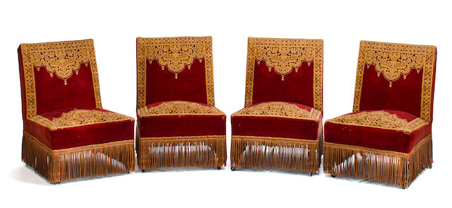 Set of four Victorian slipper chairs, Second half of the 19th c., Ebonized wood and red and gold cut velvet upholstery and fringe border 	h x w x d (of seat): 31 x 23 ¼ x 18in. ( 79 x 59 x 45.5cm)