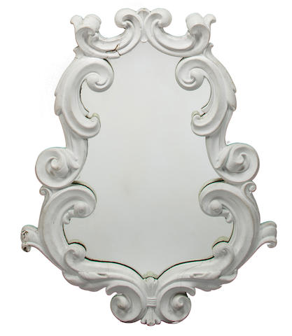 Manner of Dorothy Draper  Neo-Baroque wall mirror painted plaster mid 20th c.  h x w x d: 36 x 29 ½ x 2in. (92 x 75 x 5cm)