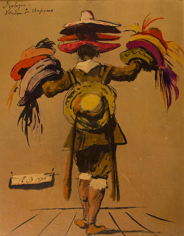"Eugene Berman, 'Prologue: Vendeur de Chapeaux"" color print, unframed, in mat"