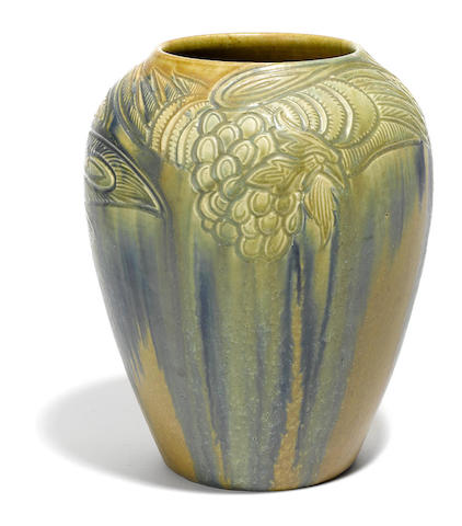 A Rookwood carved mat pottery bird vase decorated by William E. Henschel, 1913