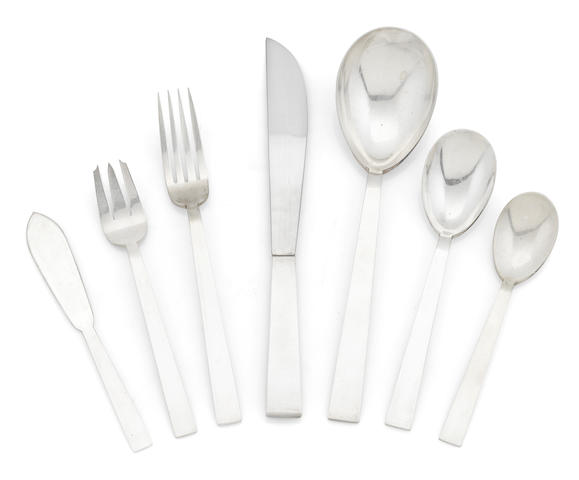 An Adra of California sterling Adra Moderne flatware service for eight