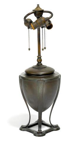 A Tiffany Studios patinated bronze oil font lamp base