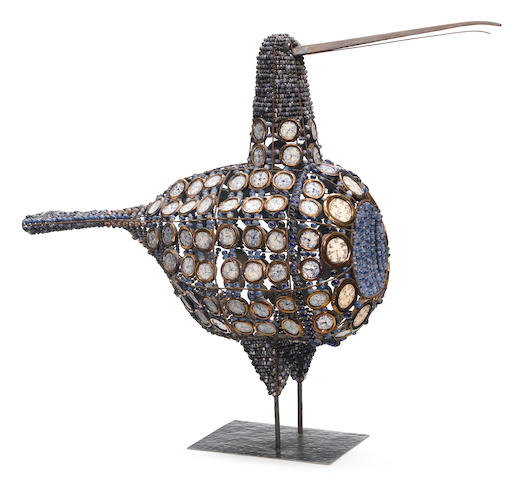 A Birger Kaipiainen for Arabia stoneware and metal bronze 'Bead Bird' figure 1960