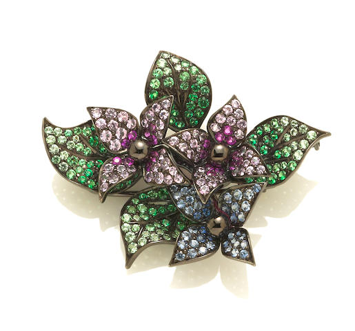 A multi-color sapphire flower brooch, Nafco