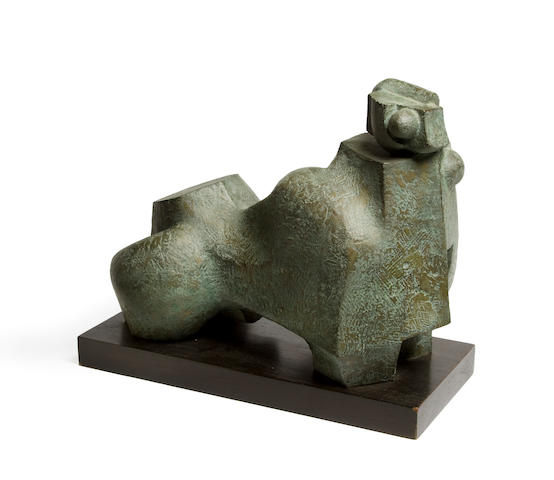Edoardo Villa (South African, 1920-2011) Reclining figure 45.7 x 22.8 38.7cm (18 x 9 x 15 1/4in).