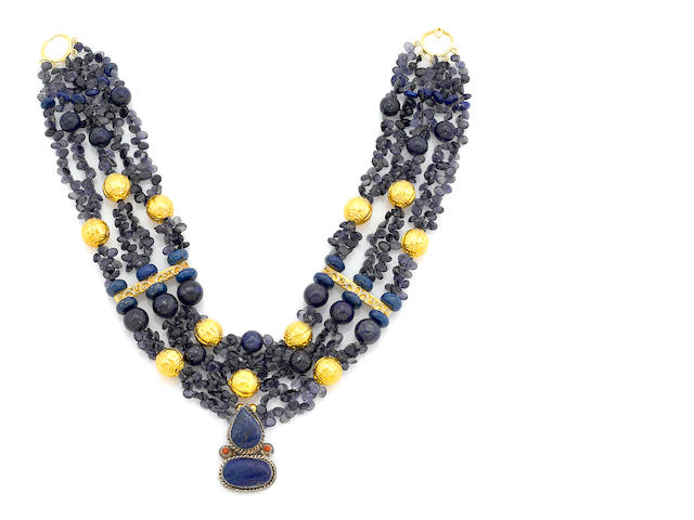 A Tony Duquette lapis lazuli and iolite bead, silver and vermeil necklace with lapis lazuli pendant 1990s