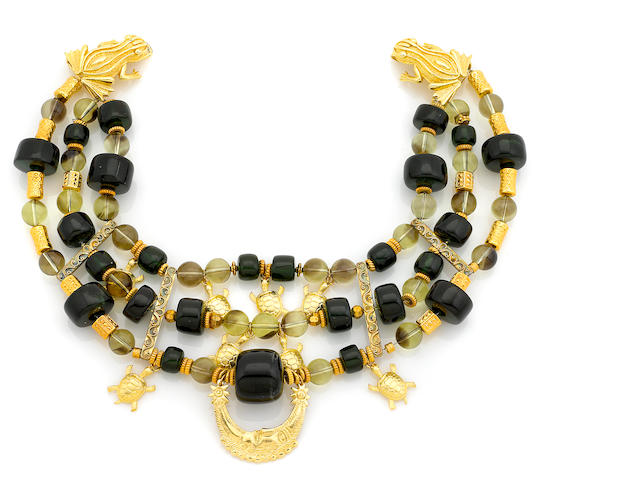 A Tony Duquette green amber, citrine bead and vermeil necklace with toad clasp 1990s