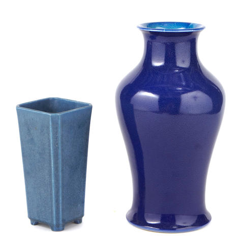 Two Rookwood blue glazed pottery vases 1916, 1926