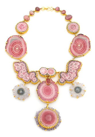 A Tony Duquette rhodocrosite, rose quartz, pink tourmaline, amethyst slice, and vermeil necklace