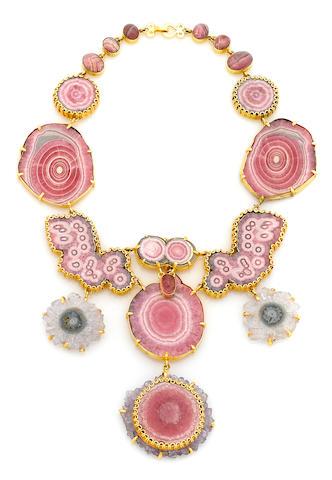 A Tony Duquette rhodocrosite, rose quartz, pink tourmaline, amethyst slice, and vermeil necklace