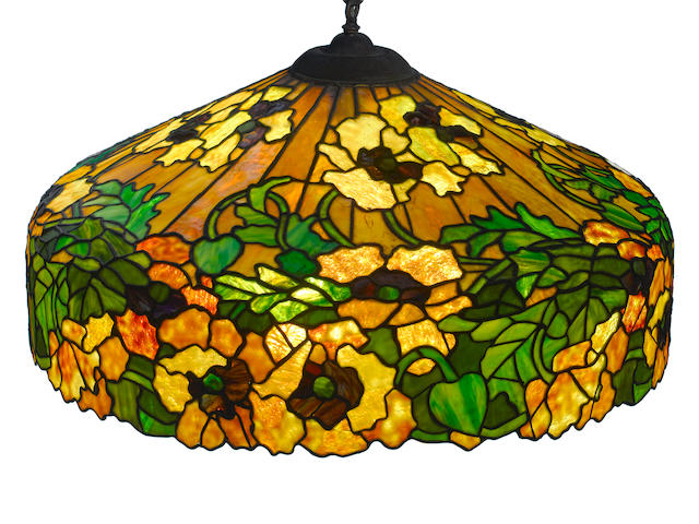 An Duffner and Kimberly Co. leaded glass Yellow Poppy hanging lamp  early 20th century
