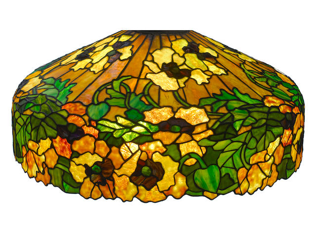 A Duffner and Kimberly Co. leaded glass Yellow Poppy hanging lamp early 20th century
