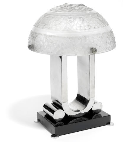An R. Lalique glass plafonnier mounted as a lamp: St. Vincent