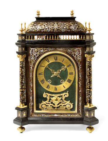 A good Louis XIV style gilt mounted Boulle marquetry pendule religieuse Last quarter 19th century, incorporating earlier elements, movement stamped Denière à Paris
