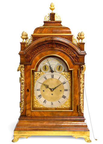 A magnificent George III faded mahogany 12-tune musical turntable clock Signed Ellicott, London, mid 18th century