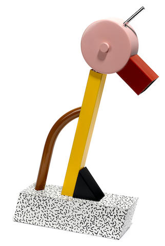 An Ettore Sottsass for Memphis enameled metal, chromed metal and laminate Tahiti lamp 1981