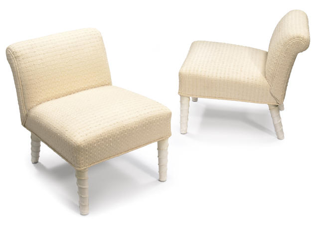 A pair of William Haines upholstered and leather-clad slipper chairs  mid-20th century