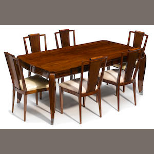 A French Art Deco chromed metal mounted mahogany dining table circa 1925