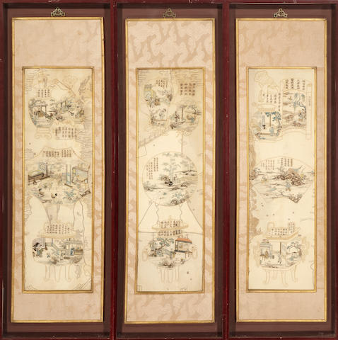 A set of three embroidered silk figural panels 19th century