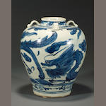 A blue and white porcelain jar  Late Ming dynasty