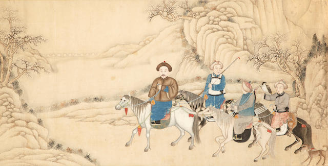 A Chinese painting of a hunting scene lat Qing dynasty