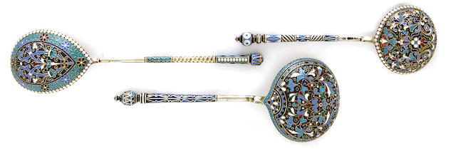 Three Russian 84 standard parcel silver-gilt and enamel spoons<BR />MoscowThe first with marks for Petr Miliukov, c.1890s, the second: Ivan Saltykov, c.1890s, the third: marked in Cyrillic VA, 1896, all with later Soviet marks