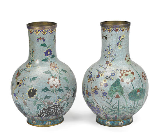 A pair of large cloisonné enameled metal stick neck vases Republic period