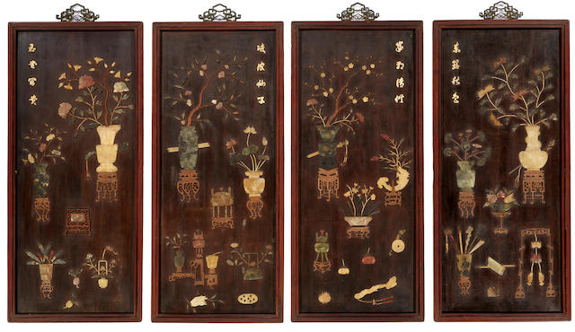 A set of four lacquered wood wall panels with colored stone overlay decoration Late Qing/Republic period