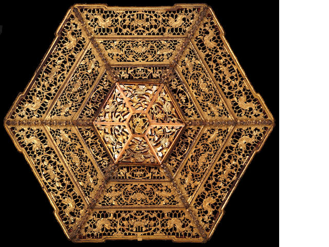 A massive reticulated gilt wood ceiling panel Republic period