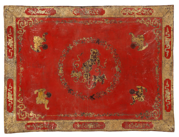 A large tooled leather panel with gilt and red lacquer decoration Late Qing/Republic period