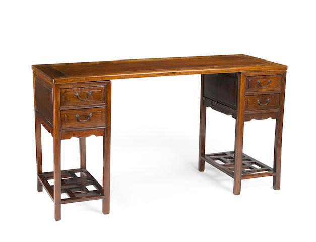 A three-section hardwood desk Late Qing/Republic Period