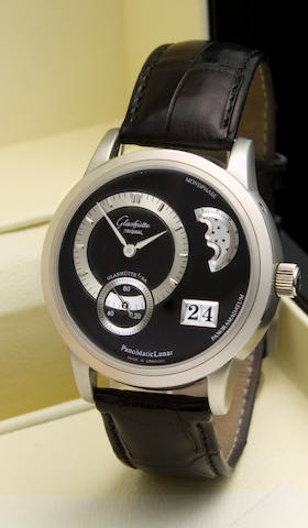 Glashütte. A platinum automatic wristwatch with date and moon phasePanoMatic Lunar, Case no. 157/200, Movement No. 157, sold in 2006